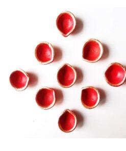 Red Diwali Diya (9 Pcs)