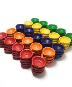Premium Colourful Traditional Clay Diyas Set of 50 Pcs