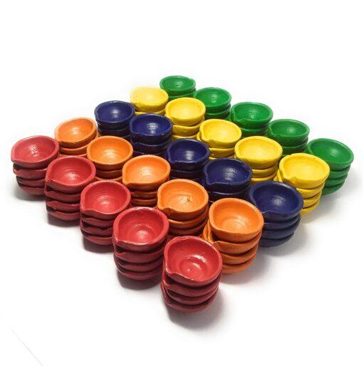 Premium Colourful Traditional Clay Diyas Set of 50 Pcs