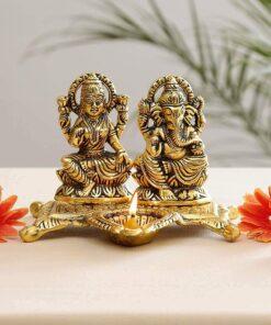 White Metal Golden Oxidized Laxmi Ganesh Ji Choki with Diya